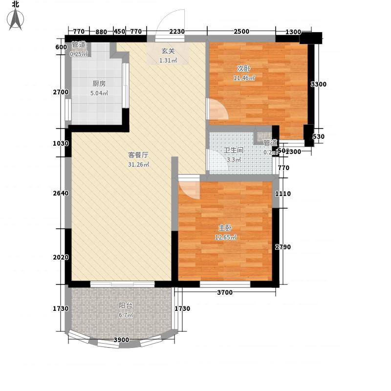 碧桂园十里银滩海景洋房2号楼B1户型2室2厅1卫1厨