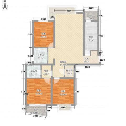 金裕大厦3室1厅2卫1厨127.00㎡户型图