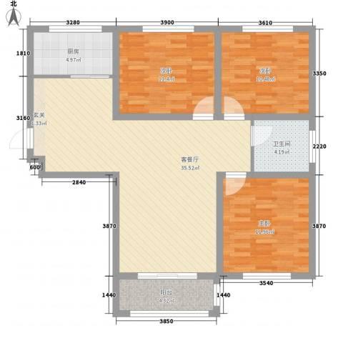 泰和名都3室1厅1卫1厨118.00㎡户型图