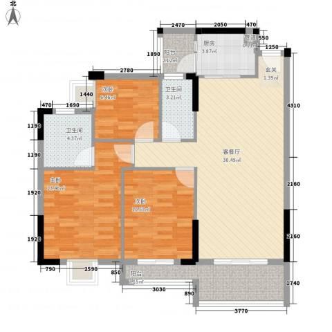 顺丰翠园3室1厅2卫1厨116.00㎡户型图
