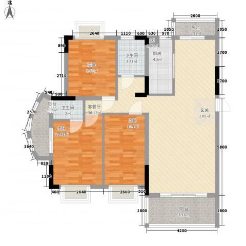 南天・太阳城3室1厅2卫1厨119.00㎡户型图