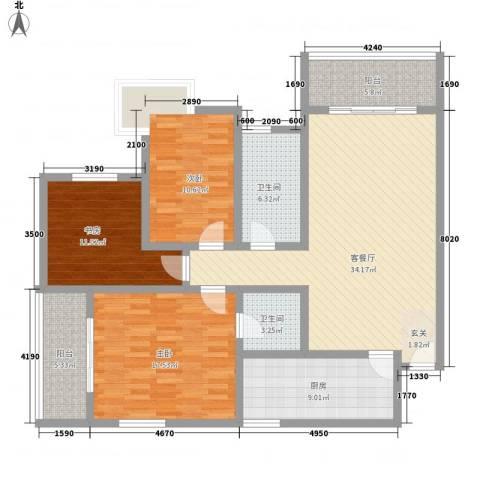 山景明珠花园3室1厅2卫1厨148.00㎡户型图