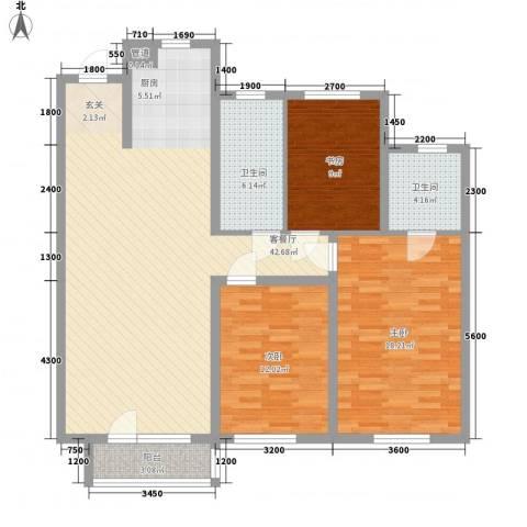 华润橡树湾3室1厅2卫0厨137.00㎡户型图