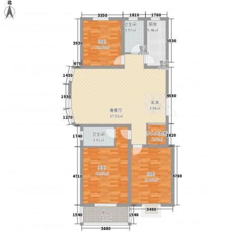 裕馨城二期3室1厅2卫1厨133.00㎡户型图