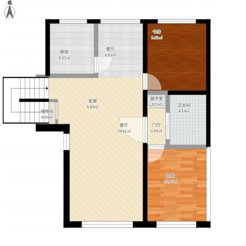 香格里拉花园2室2厅1卫1厨97.00㎡户型图