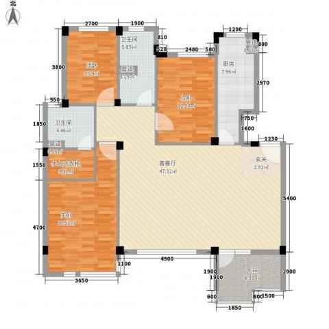 嘉亨湾3室1厅2卫1厨159.00㎡户型图