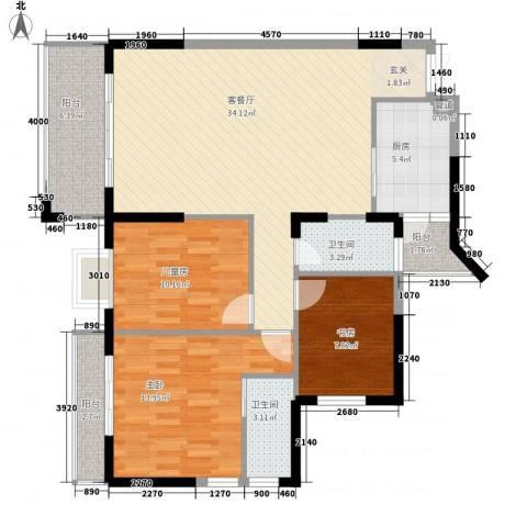嘉亨湾3室1厅2卫1厨125.00㎡户型图
