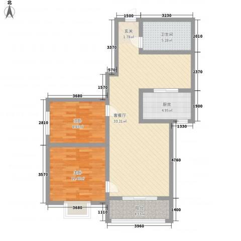 紫境城2室1厅1卫1厨68.10㎡户型图