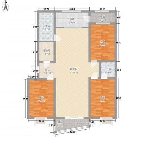 东方御景3室1厅2卫1厨162.00㎡户型图