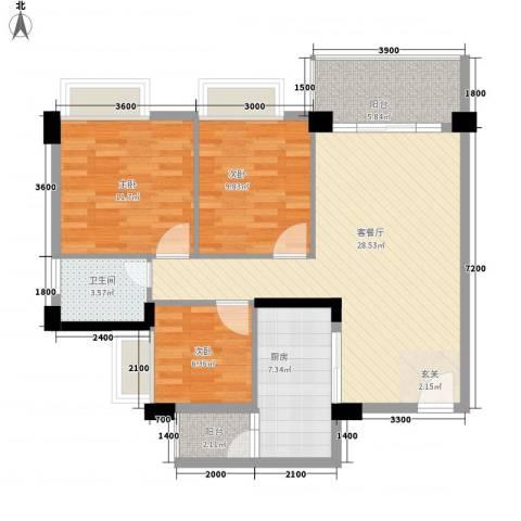 金宝山庄3室1厅1卫1厨75.28㎡户型图