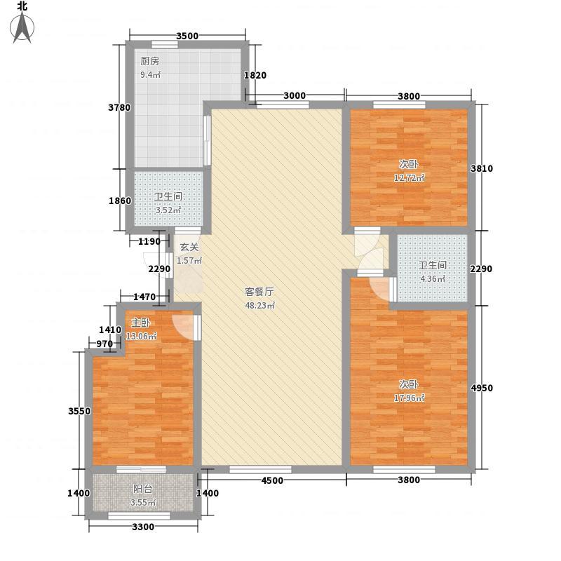 庆丰御锦湾156.00㎡E塞纳溪谷户型3室2厅2卫1厨