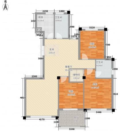 柏顿公馆3室1厅2卫1厨138.00㎡户型图