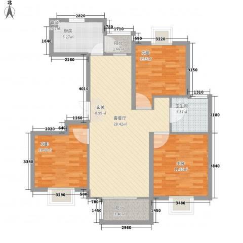 望亭大街小区3室1厅1卫1厨107.00㎡户型图