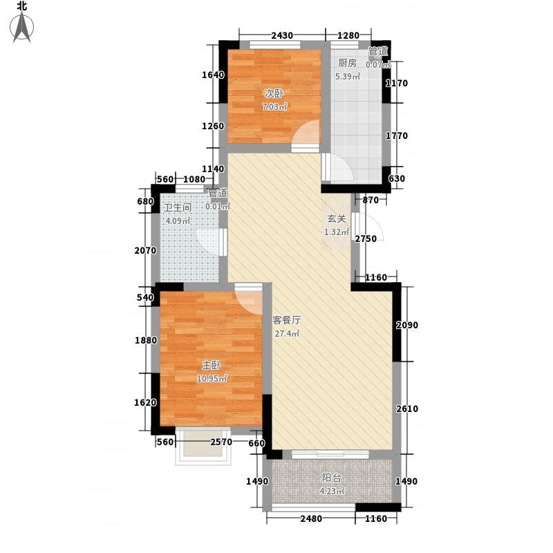瑞源香汐海86.22㎡1#-14#楼标准层之R户型2室2厅1卫1厨