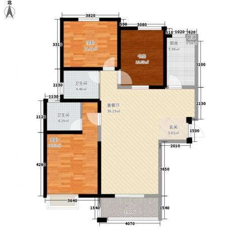 紫薇花园3室1厅2卫1厨93.89㎡户型图
