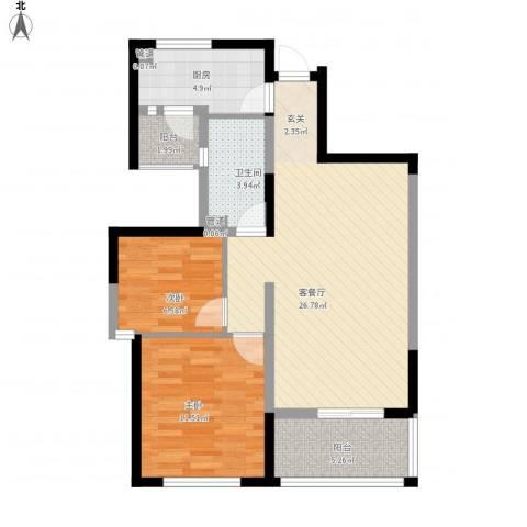 绿地香颂公寓2室1厅1卫1厨89.00㎡户型图