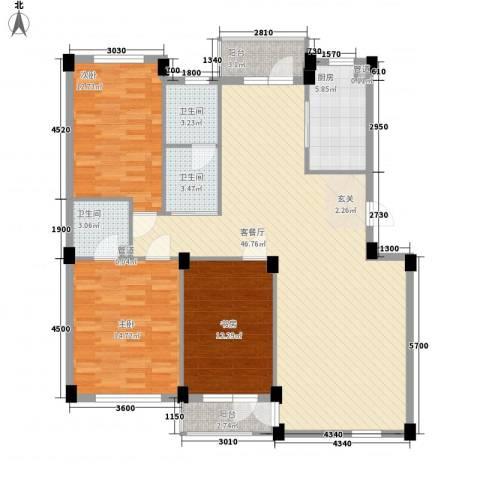 长鹭晶品缘林3室1厅3卫1厨126.00㎡户型图
