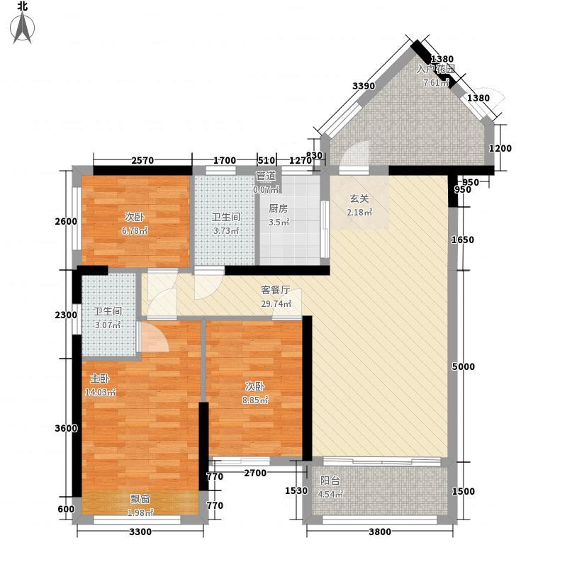 裕邦・新外滩3.00㎡一期10、11座02、03户型3室2厅2卫1厨