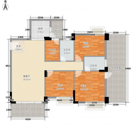 金宝山庄3室1厅2卫1厨115.50㎡户型图