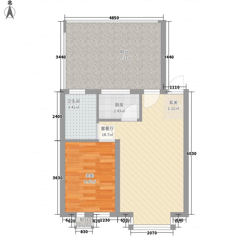 大禹城邦68.88㎡泊心湾A1(退)户型1室1厅1卫