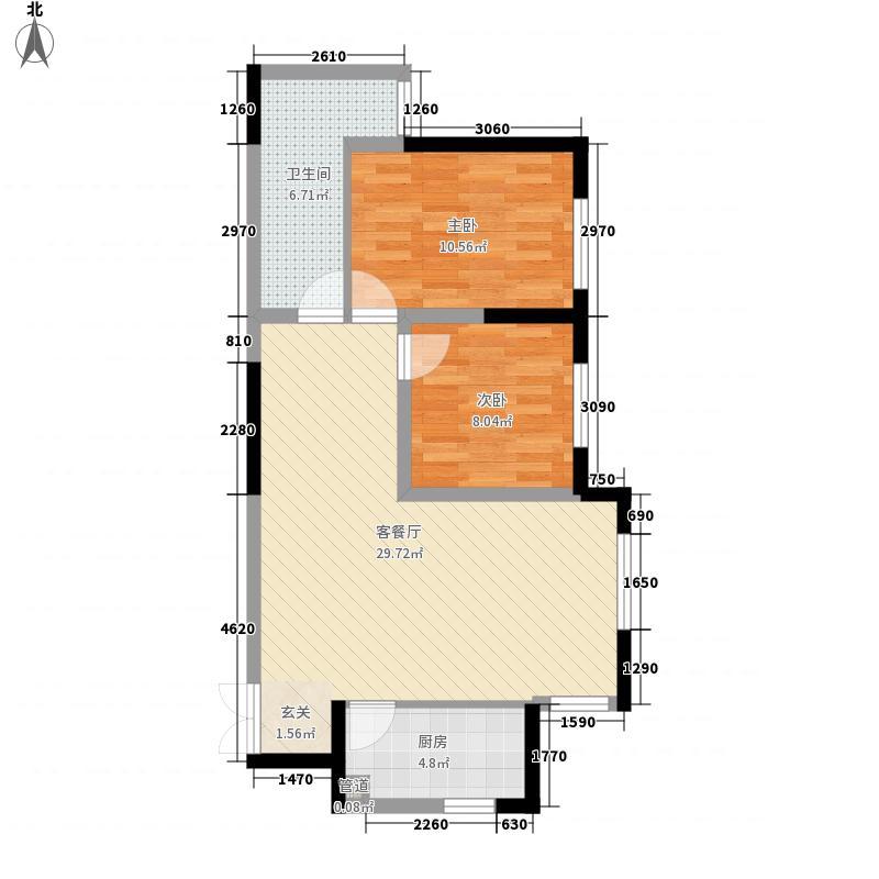康桥金域上郡85.50㎡五期5号楼B5'户型2室2厅1卫1厨