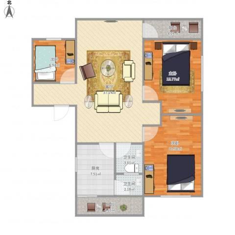 南贸中心市场(住宅楼)3室1厅2卫1厨132.00㎡户型图