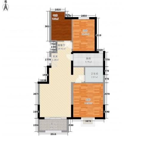 万科 朗润园3室1厅1卫1厨109.00㎡户型图