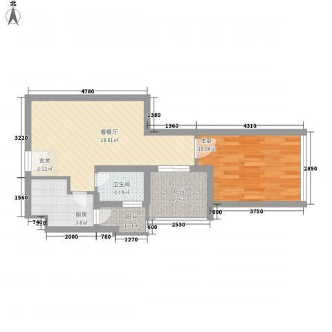 金东国际1室1厅1卫1厨56.00㎡户型图