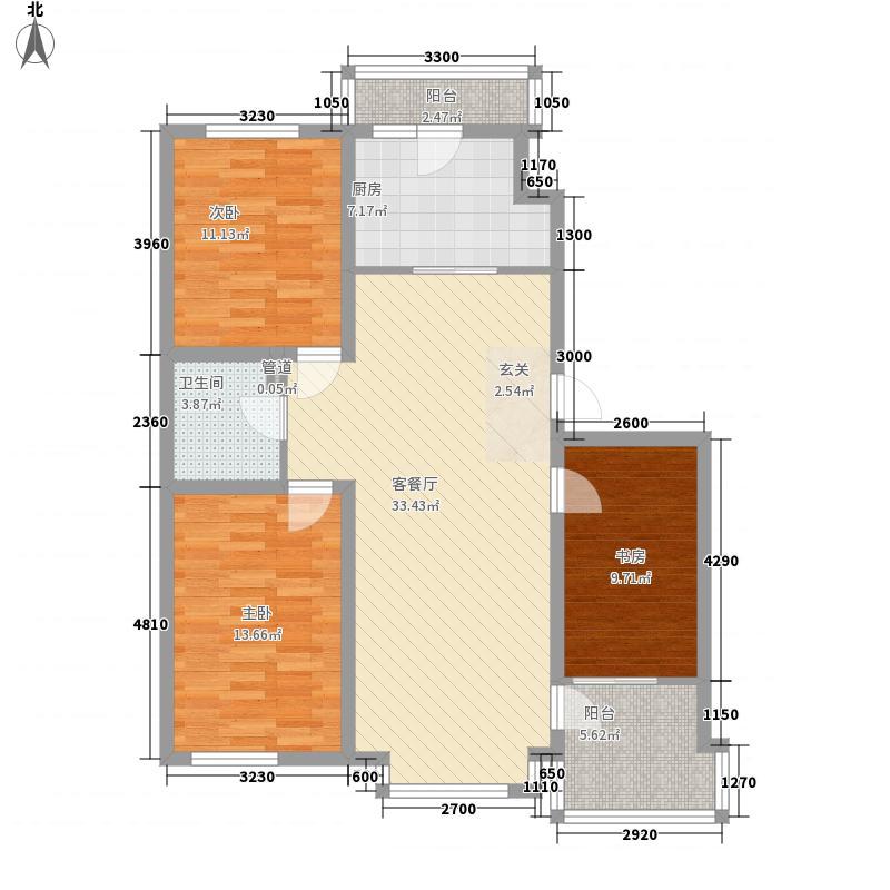 大禹城邦116.00㎡B3-2户型3室2厅1卫