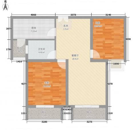 香山锦苑二期2室1厅1卫1厨103.00㎡户型图