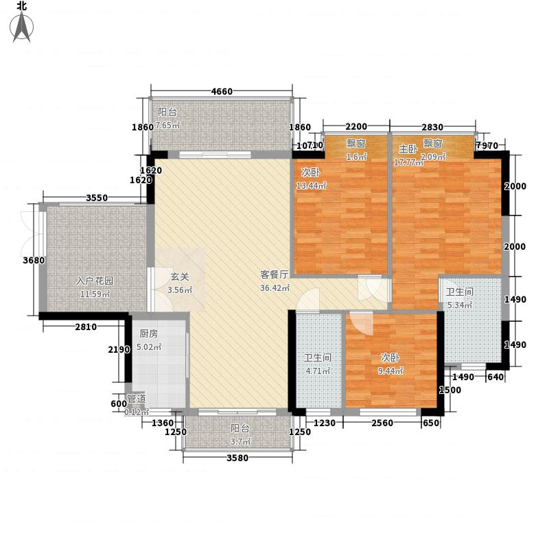 博罗雍华庭128.50㎡B户型3室2厅2卫1厨
