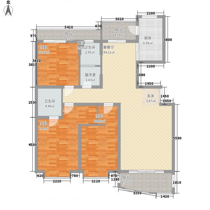 爱建滨江紫园168.00㎡E2户型3室2厅2卫1厨
