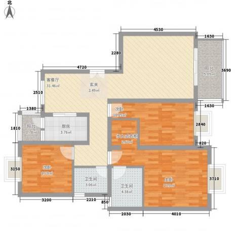 香山锦苑二期3室1厅2卫1厨125.00㎡户型图