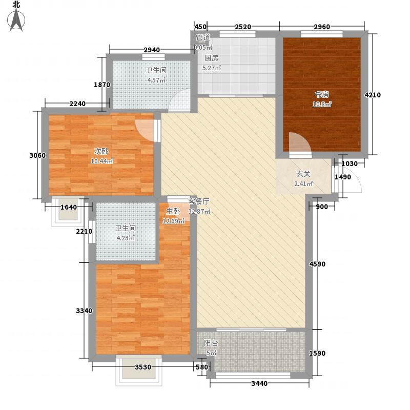保利中心华府122.00㎡4、5号楼F户型3室2厅2卫1厨