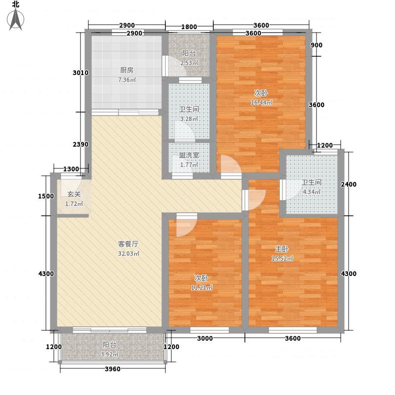 华盖东苑123.20㎡C户型3室2厅2卫1厨