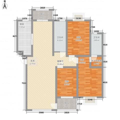 九龙山庄3室1厅2卫1厨153.00㎡户型图
