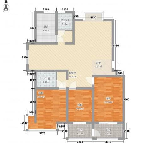 九龙山庄3室1厅2卫1厨148.00㎡户型图
