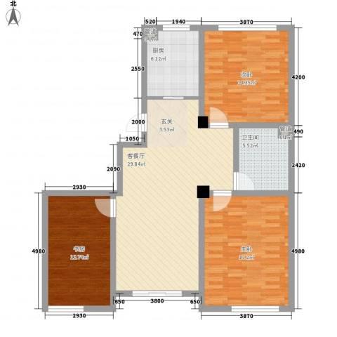 赛格特东城名苑3室1厅1卫1厨122.00㎡户型图