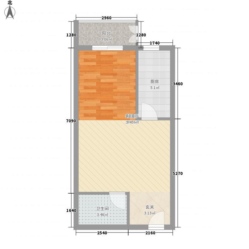 雷捷时代广场二期58.30㎡公寓A6一居户型1室1厅1卫1厨