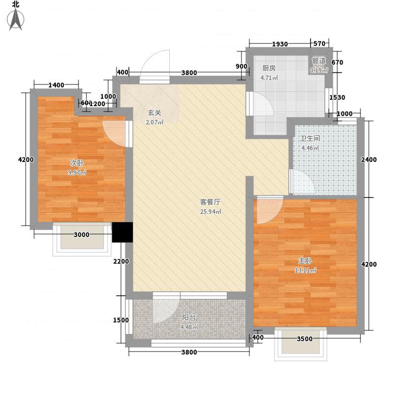 百步亭・中国MALL2.00㎡92A户型2室2厅1卫1厨