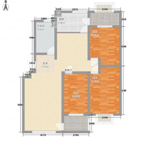 九龙山庄3室1厅1卫1厨143.00㎡户型图
