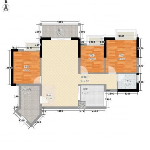 派3室1厅1卫1厨78.74㎡户型图