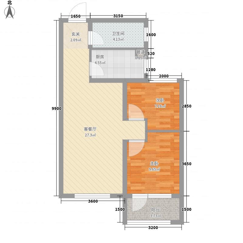 百步亭・中国MALL85.00㎡85A户型2室2厅1卫1厨