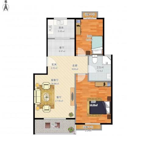 金羚嘉和馨园二期2室1厅1卫1厨97.00㎡户型图