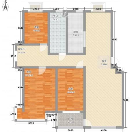 九龙山庄3室1厅1卫1厨163.00㎡户型图