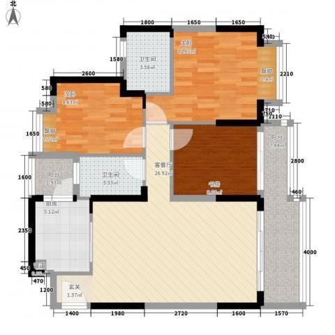 祥圣华苑3室1厅2卫1厨77.75㎡户型图