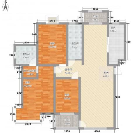 九龙山庄3室1厅2卫1厨163.00㎡户型图