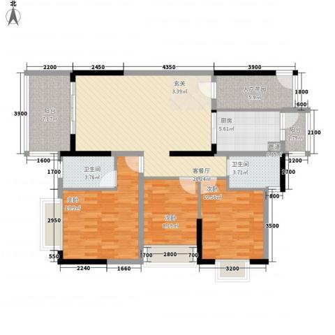 派3室1厅2卫1厨88.99㎡户型图