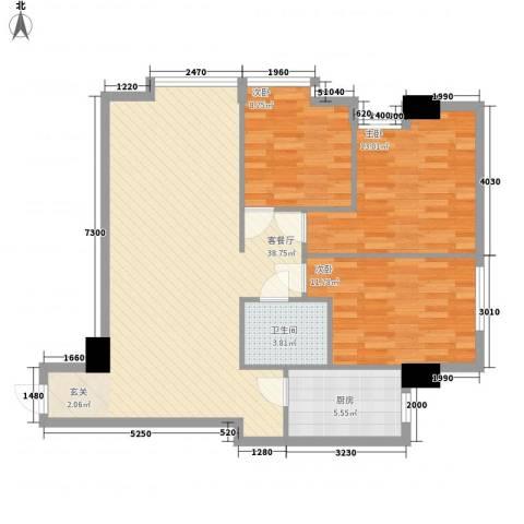 滨东康城二期3室1厅1卫1厨81.55㎡户型图