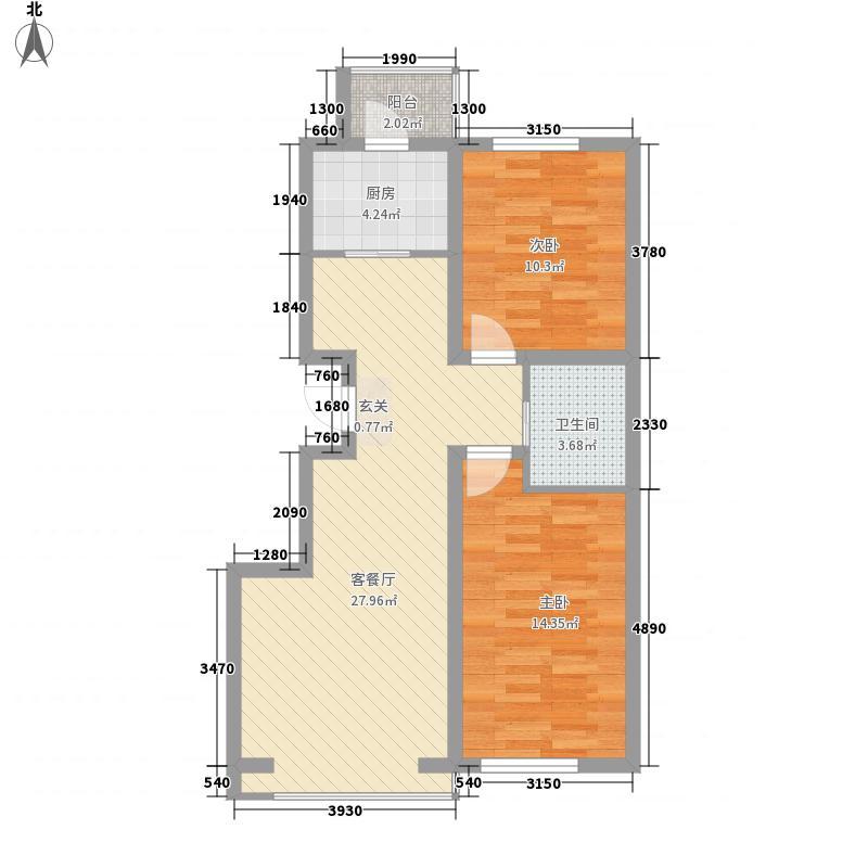 大禹城邦8.66㎡泊心湾(2#-3#楼)户型2室2厅1卫
